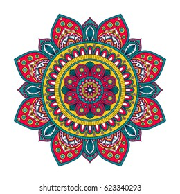 Vector hand drawn doodle mandala with tracery. Ethnic mandala with colorful ornament. Isolated. Red, white, yellow, green colors. On white background. Doodle illustration.