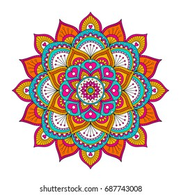 Vector hand drawn doodle mandala with hearts. Ethnic mandala with colorful ornament. Bright colors. Isolated. Illustration on doodle style.
