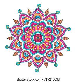 Vector hand drawn doodle mandala. Ethnic mandala with colorful ornament. Isolated. Illustration on doodle style.