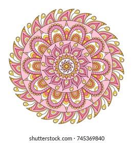 Vector hand drawn doodle mandala. Ethnic mandala with colorful tribal ornament. Isolated. On white background.