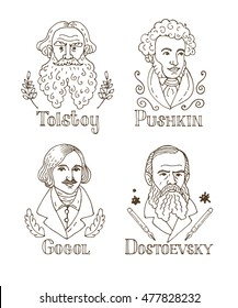 Vector hand drawn doodle portraits of famous russian writers: Tolstoy, Pushkin, Gogol, Dostoevsky.