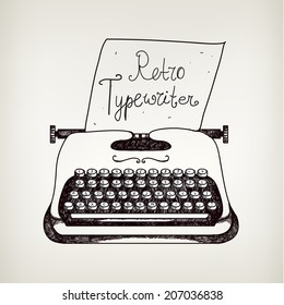 vector hand drawn doodle retro black ans white typewriter with paper. Can use it for advertising, banner, card, etc.