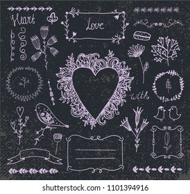 Vector hand drawn doodle romantic set. Linear illustration - flowers, wreaths, deviders, frames, leaves. Use for decoration, wedding invitations, birthday cards, packaging, etc.