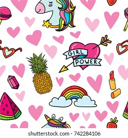 "Vector hand drawn doodle seamless hipster pattern background with feminism symbols: heart with sign ""Girl Power"" and other trendy elements: lipstick, unicorn, rainbow, lipstick, pineapple, watermelon."