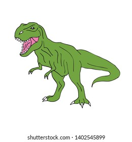 Vector hand drawn doodle sketch green tyrannosaur dinosaur isolated on white background