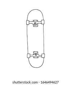 Vector hand drawn doodle sketch outline skateboard isolated on white background