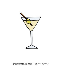 Vector hand drawn doodle sketch colored martini cocktail isolated on white background