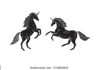 Vector hand drawn doodle sketch two black unicorn isolated on white background