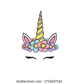 Vector hand drawn doodle sketch colored unicorn face with flowers isolated on white background
