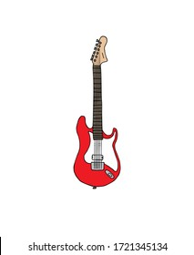 Vector hand drawn doodle sketch red electronic guitar isolated on white background