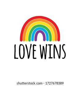 Vector hand drawn doodle sketch lgbt rainbow love wins lettering isolated on white background