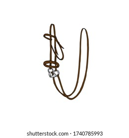 Vector hand drawn doodle sketch brown colored equestrian horse bridle isolated on white background