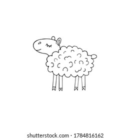Vector hand drawn doodle sketch sheep isolated on white background