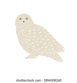 Vector hand drawn doodle sketch polar snowy owl isolated on white background