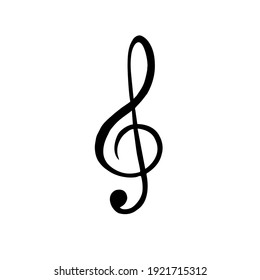 Vector hand drawn doodle sketch black music treble clef note isolated on white background