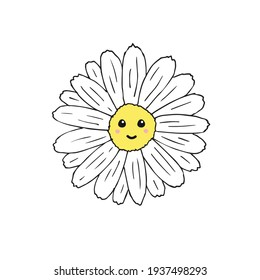 Vector hand drawn doodle sketch daisy chamomile flower with face isolated on white background
