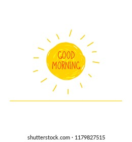 Vector Hand Drawn Doodle Sunrise, Good Morning Lettering, Divider Line Isolated on White Background.