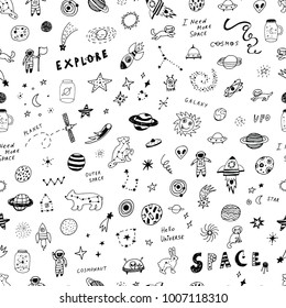 vector hand drawn doodles cartoon seamless pattern of Space objects: stars, planets, cosmonauts.