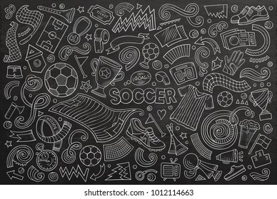 Vector hand drawn doodles cartoon set of football objects and elements
