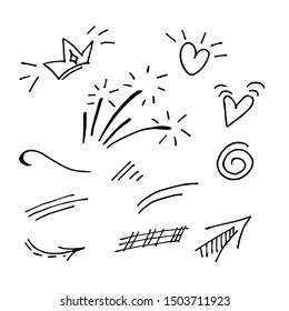 Vector hand drawn. doodles collection of curly arrow. swishes, swoops, swirl, heart, love, crown, firework, highlight text and emphasis element, use for concept design