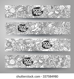 Vector hand drawn doodles sketchy food banners design templates set