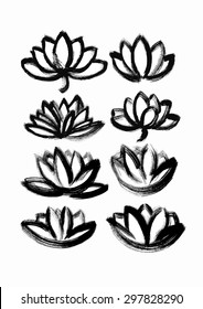 vector hand drawn dry brush only contour  lotus set
