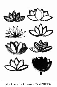 vector hand drawn dry brush with pattern lotus set