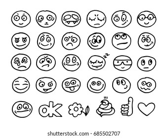 Vector hand drawn emoticon doodles collection
