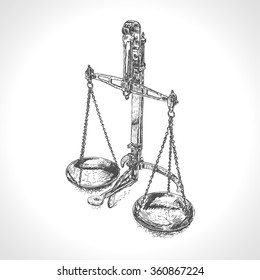 Vector hand drawn engraved illustration of Balance scale
