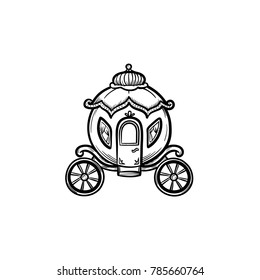 Vector hand drawn fairytale carriage outline doodle icon. Fairytale carriage sketch illustration for print, web, mobile and infographics isolated on white background.