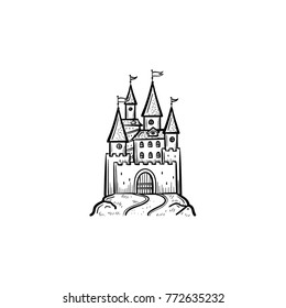 Vector hand drawn fairytale castle outline doodle icon. Fairytale castle sketch illustration for print, web, mobile and infographics isolated on white background.