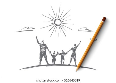 Vector hand drawn family concept sketch with pencil over it. Happy man, woman and two children standing and holding each other with raised hands under the Sun