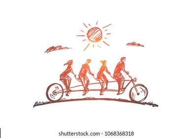 Vector hand drawn Family time concept sketch. Family consisting of four members riding one big bicycle together in summer.