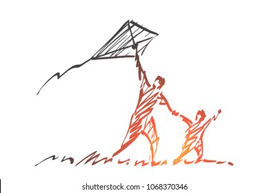Vector hand drawn Family time concept sketch. Dad and son flying kite together in summer.