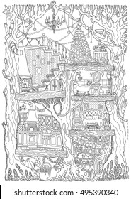 Vector hand drawn fantasy old oak tree with fairy tale house. Black and white sketch . Tee-shirt print. Adults and children Coloring book page. Batik paint. Christmas greeting, party invitation card