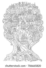 Vector hand drawn fantasy old oak tree with fairy tale houses, castles and palaces. Black and white contour drawing. Tee-shirt print. Adults and children Coloring book vertical page. Batik template