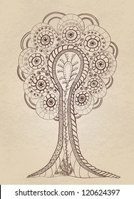 Vector hand drawn fantasy tree on paper seamless background