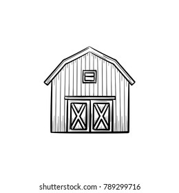 Vector hand drawn Farm barn outline doodle icon. Farm barn sketch illustration for print, web, mobile and infographics isolated on white background.