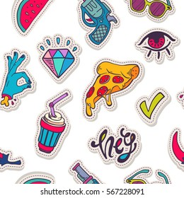 Vector hand drawn fashion background: diamond, hand, watermelon, pepper, revolver, speech cloud, coffee on white. Modern pop art sticker, patches pin, badge 80s-90s style, seamless pattern
