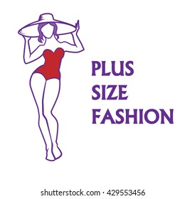 Vector hand drawn fashion illustration - plus size model woman. Fashion logo with overweight young girl in elegant swimwear. Summer vacation concept. Beautiful XL curvy body icon design.