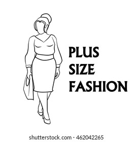 Vector hand drawn fashion illustration - plus size model woman. Black and white fashion logo with overweight young girl in elegant dress. Beautiful curvy body icon design