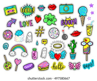 Vector hand drawn fashion patches: rainbow, ghost, cloud, doughnut, cake, camera, lip, heart, star, arrow, speech bubble. Modern set of pop art stickers, patches, pins, badges in 80s-90s cartoon style