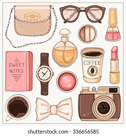 Vector hand drawn fashion set of woman's accessories and cosmetics. Hipster illustration with bag, make up tools, coffee, glasses, hand watch and photo camera