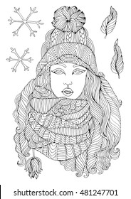Vector hand drawn fashion young girl in a warm knitted hat and voluminous scarf, autumn winter season. Pattern for coloring book A4 size. Coloring book for adults. Zentangle drawing.