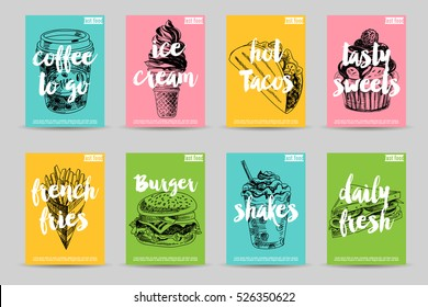 Vector hand drawn fast food posters. Vintage style. Retro food background. Sketch