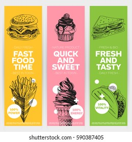 Vector hand drawn fast food banners set. Vintage style. Retro food background. Sketch