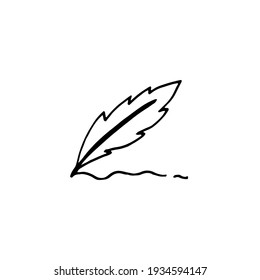 Vector hand drawn feather pen drawing icon
