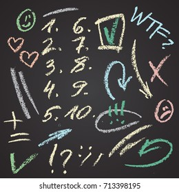 Vector hand drawn figures and note elements set on chalkboard. Abstract vector chalk illustration. Arrows, ticks, smiles, marks, circles and hearts by crayon.
