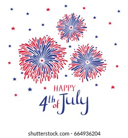 Vector hand drawn fireworks for 4th of july. American independence day card.