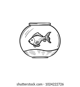 Vector hand drawn Fishbowl outline doodle icon. Fishbowl sketch illustration to print
